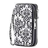 HAWEE Cellphone Wallet Dual Zipper Wristlet Purse with Credit Card Case/Coin Pouch/Smart Phone Pocket Soft Leather for Women or Lady, Black Window Grille