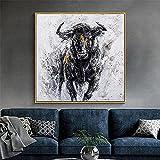 Cuadro de pared moderno con diseño de toro potente, impresión abstracta, lienzo nórdico, cuadro para decoración del hogar y la oficina (40 x 40 cm), sin marco