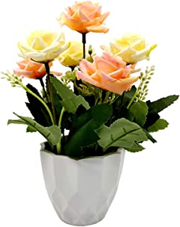 UIKKOT Artificial Fake Flowers Silk Bouquet Roses in Small Plastic Vase Sturdy Bottom Arrangements for Indoor Outdoor Decorations Wedding Party Home Videos Table Gift or MV (Pink and Yellow)
