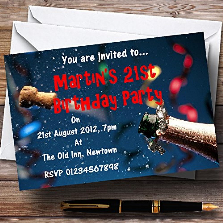 descuento Azul personalizable celebración de corcho de champán invitaciones de de de fiesta  nuevo sádico