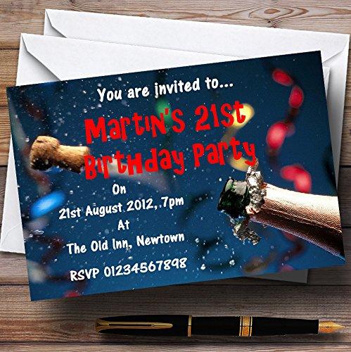 10 x Uitnodigingen Blue Champagne Kurk Viering Gepersonaliseerde Partij Nodigt elke Wording