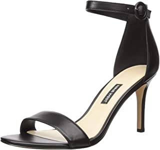 NINE WEST Women's Fashion Sandal Heeled, Black, 9 M US