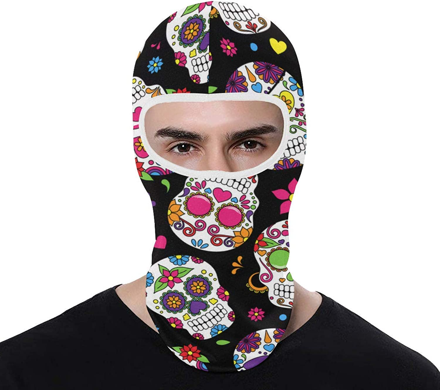 Full Face Mask Cover Day of The Dead Sugar Skull UV Predection Summer for Cycling Outdoor Sports Full Face Mask Breathable Good Gift Great Present