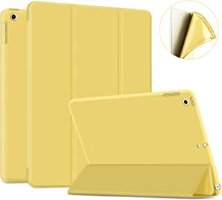 """Ayotu Soft Case for New iPad 7th Generation 10.2"""" 2019, Auto Sleep/Wake Slim Lightweight Trifold Stand Case,Soft TPU Back Cover for Apple iPad 10.2 inch 2019 Released,Yellow"""