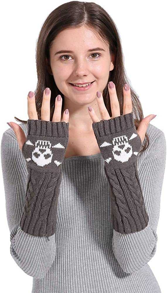 Women's Cable Knit Fingerless Arm Warmers Skull Thumb Hole Gloves Mittens