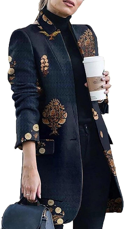 Women's Print Fashion Coat Jacket Notched Collar Long Coat Jacket Long Sleeve Fall Winter Coat Elegant Coat