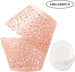 BAKHUK 100 pcs Lace Cupcake Wrappers, and 100pcs Paper Cupcake Liners, Artistic Bake Cake Paper for Wedding Birthday Party Baby Shower Decoration(Pink)