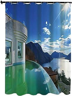 旅行の装飾 自然の風景 シャワー カーテン 90 x 180cm インフィニティプールの夏の休日をテーマにした画像 防水 防カビ 浴室 ホテル 高級 遮光 目隠し バス用品 間仕切り カーテンリング付き 取付簡単 白 水色のモダンなペントハウス