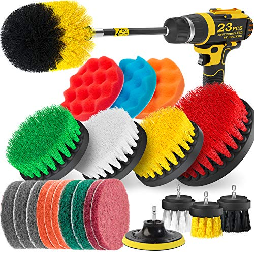 Holikme 23Piece Drill Brush Attachments Set,Scrub Pads & Sponge, Power Scrubber Brush with Extend Long Attachment All Purpose Clean for Grout, Tiles, Sinks, Bathtub, Bathroom, Kitchen