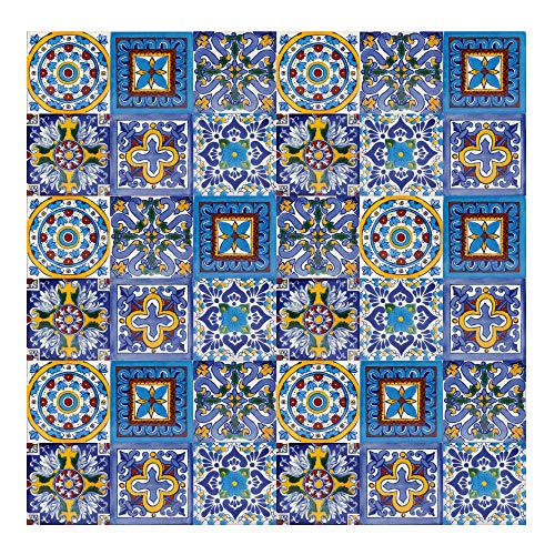 Cerames Armando – Azulejos Mexicanos decorados| 10x10cm, 30 piezas | Azulejos artesanales de ceramica Talavera, hecho y pintado a mano, para baño y cocina