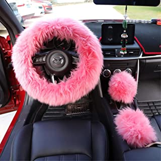Gear Cover DragonPad Automotive Steering Wheel Cover Warm Fur Universal Steering-Wheel Plush Car Steering Wheel Covers Wine red Steering Wheel Cover Hand Brake Cover