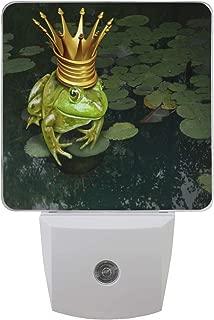 2 Pack Plug-in LED Night Light Lamp Frog Princess Printing with Dusk to Dawn Sensor for Bedroom, Bathroom, Hallway, Stairways, 0.5W