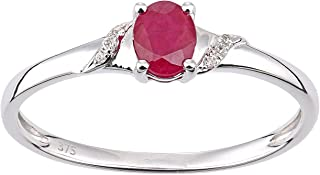 Naava 女式 9 克拉白金圆形红宝石和钻石椭圆形戒指