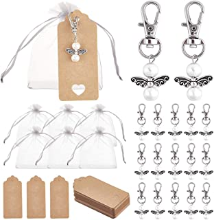 PH PandaHall 36 Set Mini Angel Pearl Beads Pendant Key Chain with White Organza Bags, 36pcs Blank Tags for Guest Baby Show...