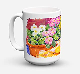 Caroline's Treasures 6061CM15 Flower-Primroses Microwavable Ceramic Coffee Mug, 15 oz, Multicolor