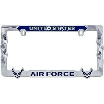 License plate frame United States Air Force ~ Chrome Raised Blue Letters on White Background Ramson/'s Imports MF1038AIR