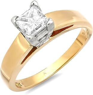 Dazzlingrock Collection IGI Certified 0.97 Carat (ctw) 14k Princess White Diamond Ladies Solitaire Engagement Ring, Yellow...