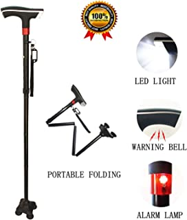 Walking Cane Survival Multitool Height Adjuatable Collapsible Folding Walking Canes Stick Mobility Aids with Replacable Tip LED Light SOS Alarm Name Plate for Men Women Black