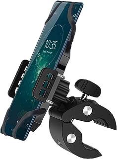 YunLeJP スマホホルダー バイク クリップ式 ホルダー マウントキット シリコンバンド 自転車ホルダー 携帯ホルダー GPSナビ 360度回転 四隅を固定 二重保護 脱落防止 多機種対応