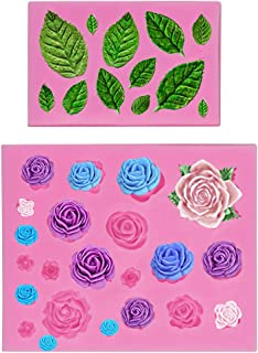 Mity rain Roses Collection Fondant Mold-Rose Flower and Leaves Shapes Silicone Mold for Sugarcraft Cake Decoration, Cupcake Topper, Polymer Clay, Candy, Chocolate, Soap Wax Making Crafting Projects