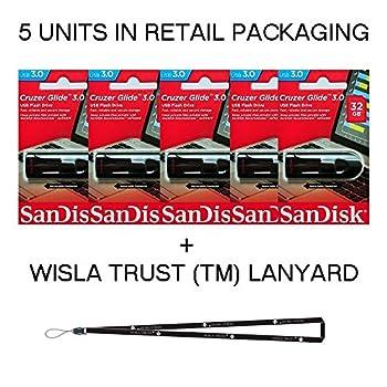SanDisk Cruzer Glide 32GB  5 Pack  SDCZ600-032G USB 3.0 Flash Drive Jump Drive Pen Drive SDCZ600-032G - Five Pack + Bonus Wisla Trust  TM  landyard