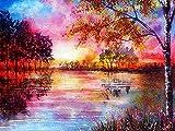 Pintura al óleo por números imágenes de paisaje otoñal por números bosque pintado a mano para colorear dibujar arte DIY regalo W8 30x40cm