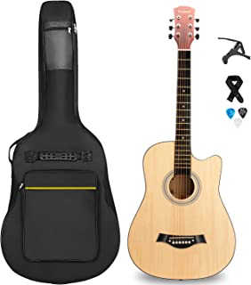 Kabat 38 inch Acoustic Guitar in Full Size Beginner All Wood Cutaway Starter Set with Free Bag/Capo/Picks/Strap (NATURAL)