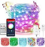 Lucine LED Decorative, Stringa Luci LED USB, 8 Modalità Musica,Controllo App,Funzione Timer,Telecomando on...