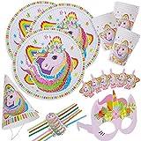 BETOY Set di Articoli per Feste Unicorno e Set di stoviglie 36 Pezzi, Kit di Decorazioni di Compleanno per Ragazze - Tovaglioli, Cannucce, Striscioni, Coltelli, Forchette e Cucchiai-Serve 6 Ospiti