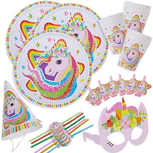 Party Vajilla, 36 Piezas Unicornio Artículos de Fiesta Party Vajilla Platos Tazas Servilletas Mantel,Feliz cumpleaños Decoraciones Suministros Fiestas Regalos Tema