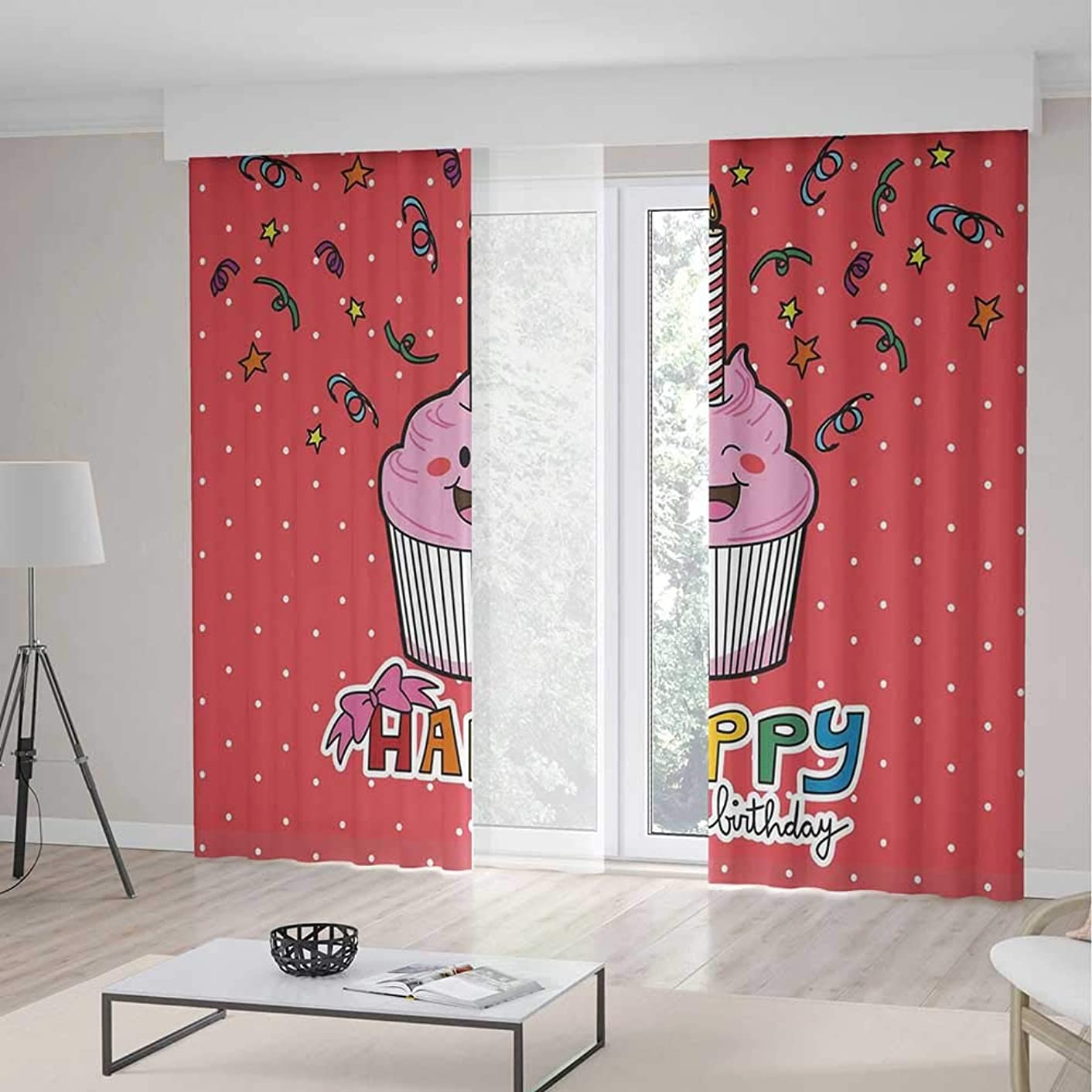 Bedroom Curtains,Birthday Decorations for Living Room,Pink Strawberry Cupcake with Candle Cute Face Confetti Bow Tie Dots,79Wx94L Inches