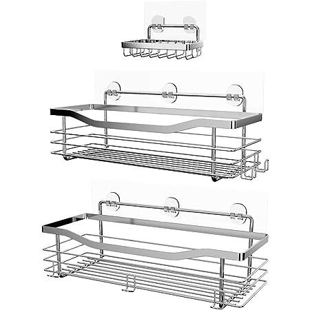 Estante de Almacenamiento de Ba/ño Sin Perforaci/ón 27.3 x 12.2 x 11.8 cm Organizador de Ba/ño Sin Tornillos Jinlaili Estantes Cesta para Ducha Adhesivo Negro Canasta de Almacenamiento Metal
