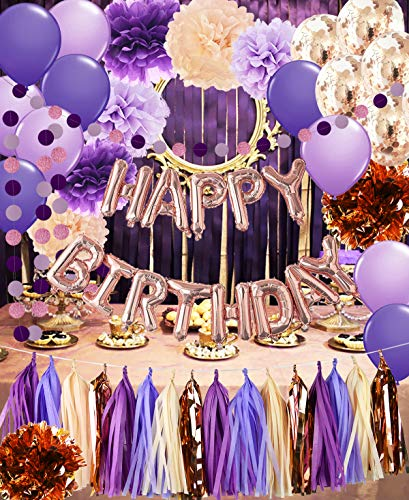 Purple Birthday Party Decorations for Women Purple Champagne Rose Gold Happy Birthday Ballons Rose Gold Confetti Balloons Girl Purple Birthday Party Decorations for Women's 30th/40th/50th/60th Birthday