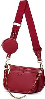 YALUXE Borsa a tracolla Borsetta donna 2 Tasca con cerniera e portamonete Pelle sintetica Fashion Rosso