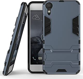HTC Desire 10 Lifestyle Case, Hybrid Armor Case [2 in 1] Lightweight Hard PC + Flexible TPU Shock Absorption & Scratch Resistant with Kickstand for HTC Desire 10 Lifestyle - Blue Black