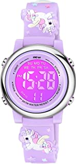 VIVIKEN Kids Watches for Girls 3D Cartoon Waterproof 7 Color LED Digital Child Wrist Watch Gifts for Kid Toddler-Purple Unicorn