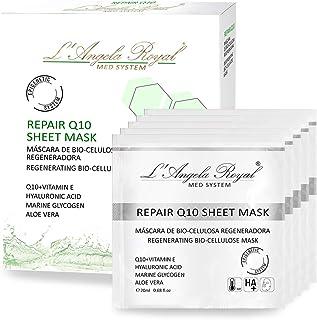 LAngela Royal Mascarilla Regeneradora Repair Sheet Mask Mascarilla facial BIO- Celulosa Q10+Vitamina E Aloe Vera Hidr...