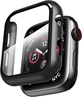 Smiling Case for Apple Watch Series 4 & Series 5 with Buit in Tempered Glass Screen Protector- All Around Hard PC Protective Case High Definition Clear Ultra-Thin Cover for iwatch (Black, 40mm)