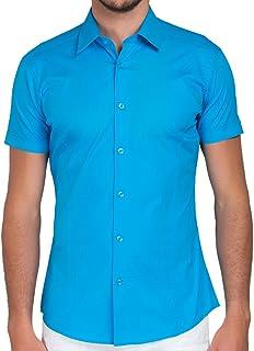 ad36f7cfb38a5 Kayhan Chemises à Manches Courtes-Homme-Slim fit 10 Coloris au Choix pour  Femme
