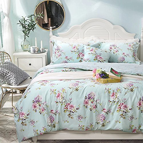 FADFAY Floral Duvet Cover Set 100% Cotton Shabby French Country Bedding Purple Hydrangea and Peony Print 3-Piece:1 Zipper Duvet Cover(No Comforter), 2 Pillowcases(Blue, Queen)