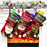 Aitey Christmas Stocking, 3 Pcs 18' Xmas Big Stockings Santa Snowman Reindeer Character 3D Plush Faux Fur Cuff Christmas Decorations Party Favor Supplies