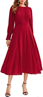 Women's Elegant Frilled Long Sleeve Pleated Fit and Flare Dress