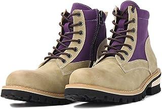 Bottes Chukka en Cuir à la Mode avec Fermeture éclair Unisexe Bottines Plates de Moto Cowboy Chaussures de Combat Punk Wes...