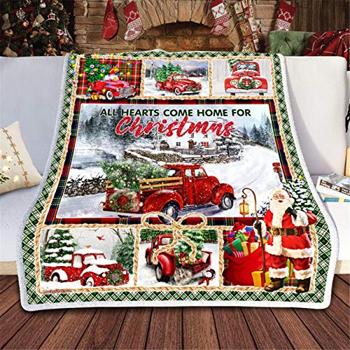 Janly Clearance Sale Cardinals Red Truck I Am Always With You Quilt Blanket, Home Textiles for Xmas 2020 Decoration (A)