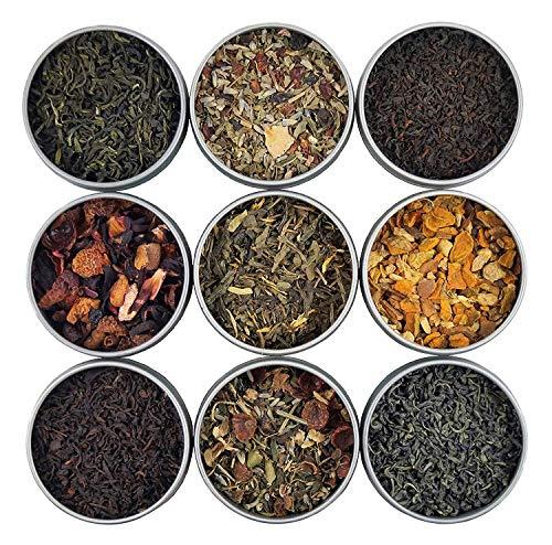 Heavenly Tea Leaves Organic Loose Leaf Tea Sampler Set, 9 Assorted Loose Leaf Teas & Herbal Tisanes