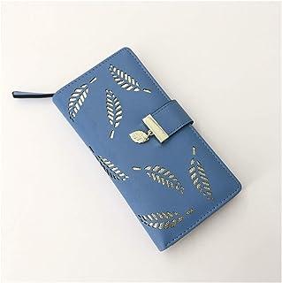 Youpin, borsa da donna di alta qualità, in pelle PU, a portafoglio, lunga durata, dorata, con foglie cave