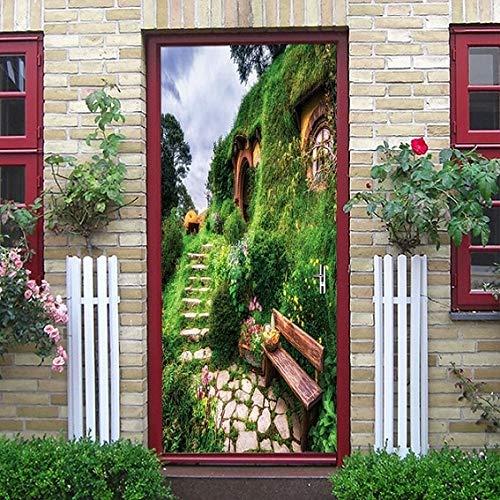 3D Hermoso Paisaje Pegatinas de Puerta Sala de Estar Dormitorio Impermeable Papel Tapiz Autoadhesivo Impermeable Papel Mural DIY A16 77x200cm