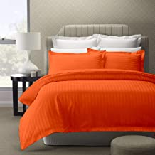 Ein Sof Pure Cotton Pillow Covers, Set of 2 - Satin Stripe Pillow Cases/Covers (Orange)