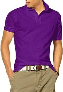 Macondoo Men's Button Short Sleeve Tee Sport Slim Polos Shirts T-Shirts