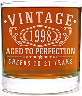 Vintage 1998 Etched 11oz Whiskey Rocks Glass - 21st Birthday Aged to Perfection - 21 years old gifts Bourbon Scotch Lowball Old Fashioned